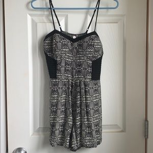Black and white tribal print romper